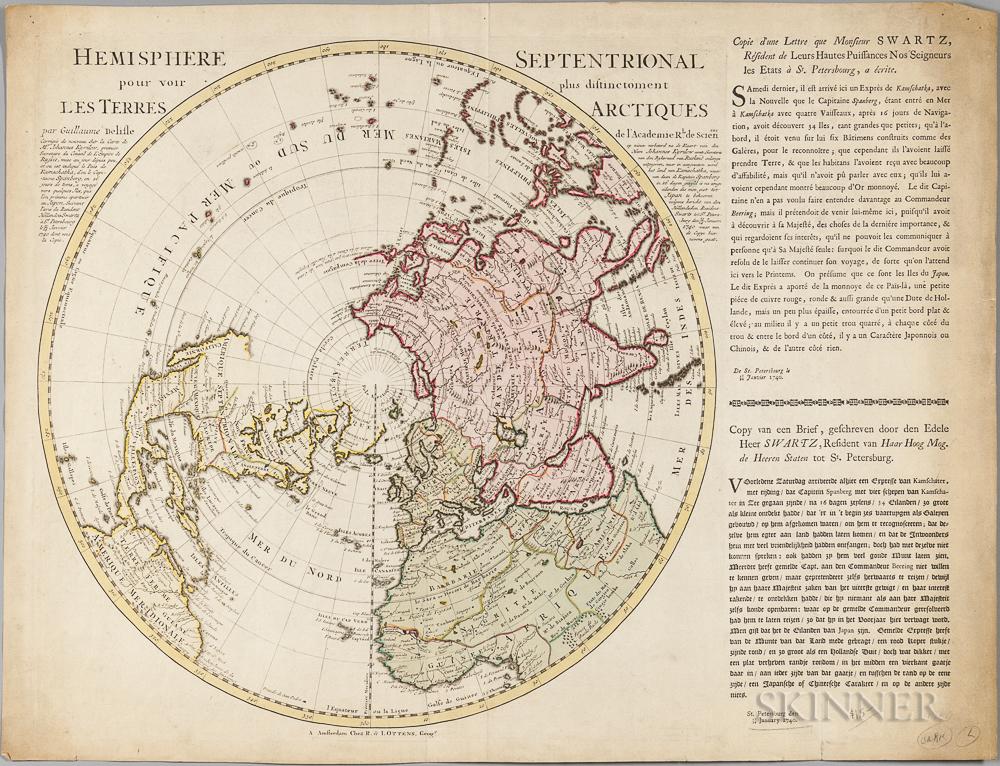 Arctic Circle. Guillaume de L'Isle (1675-1726) Hemisphere Septentrional pour voir plus distinctoment les Terres Arctiques.