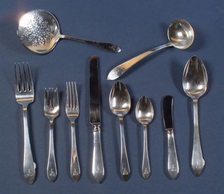 """Tiffany & Co. Sterling """"Faneuil"""" Flatware Service for Thirteen"""