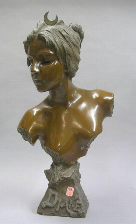 Art Nouveau Painted Cast Metal Bust of Diane