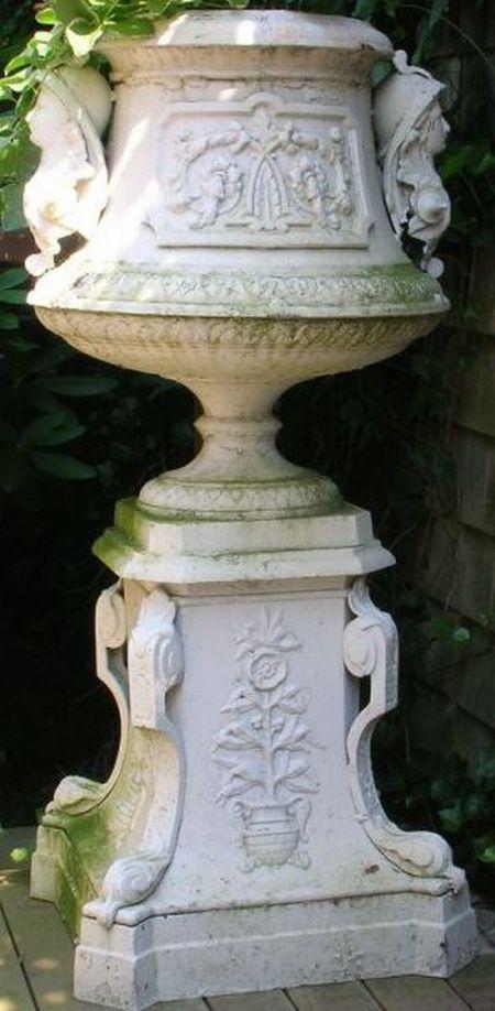 White Painted Victorian Etruscan Revival Cast Iron Garden Urn on Pedestal