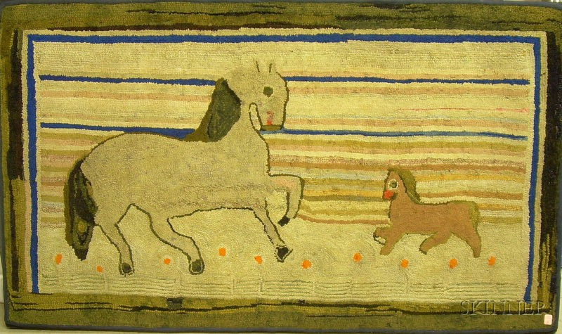Horses and Linear Pattern Hooked Rug