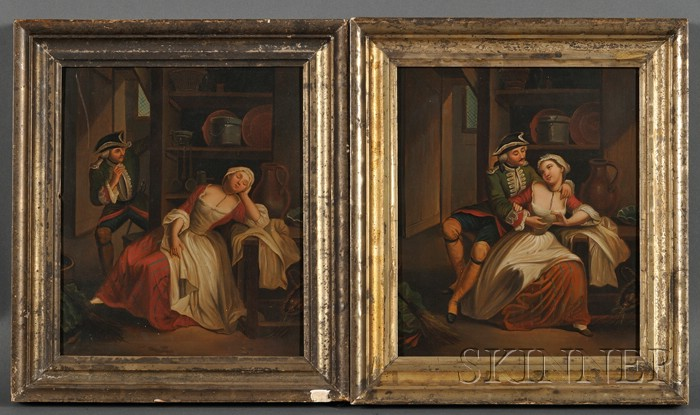 Continental School, 18th/19th Century      Lot of Two Paintings of a Courting Couple: The Surprise