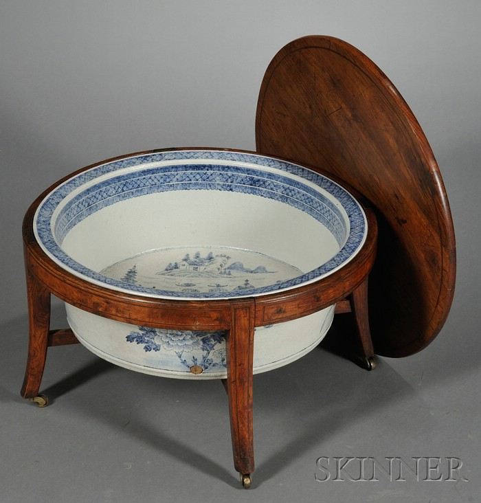 Chinese Export Blue and White Porcelain Wash Basin and an Associated Mahogany Stand