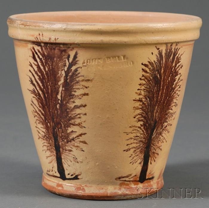 Mocha-decorated Redware Flowerpot