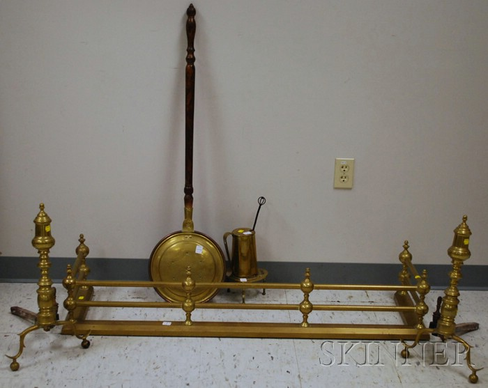 Six Brass Hearth and Fireplace Items