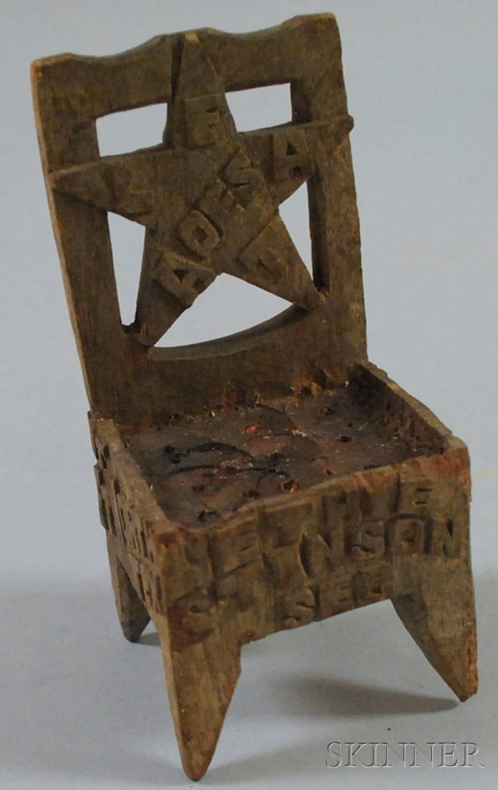 Miniature Folk Carved Wood Texas Fraternal Chair
