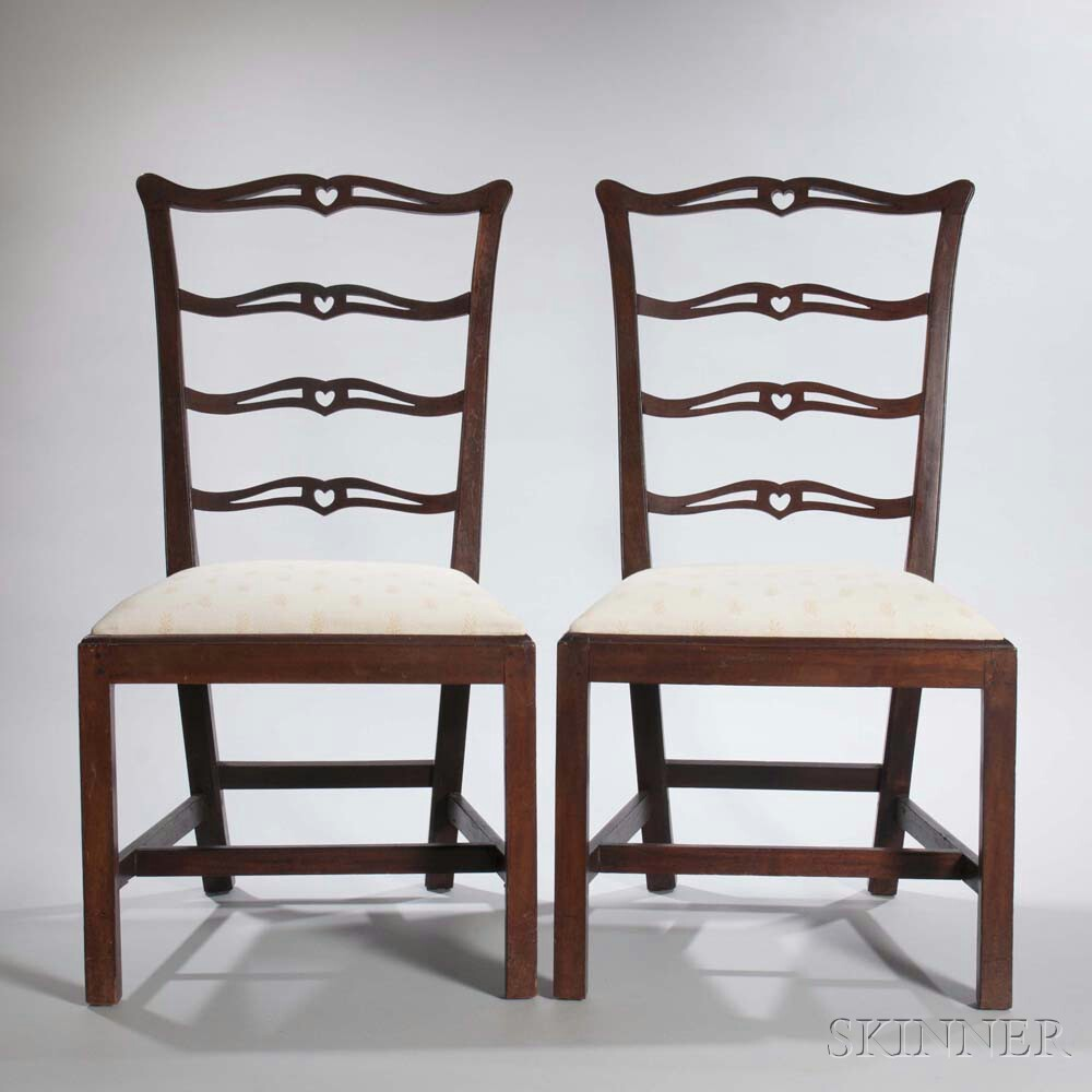 Pair of Mahogany Ladder-back Side Chairs