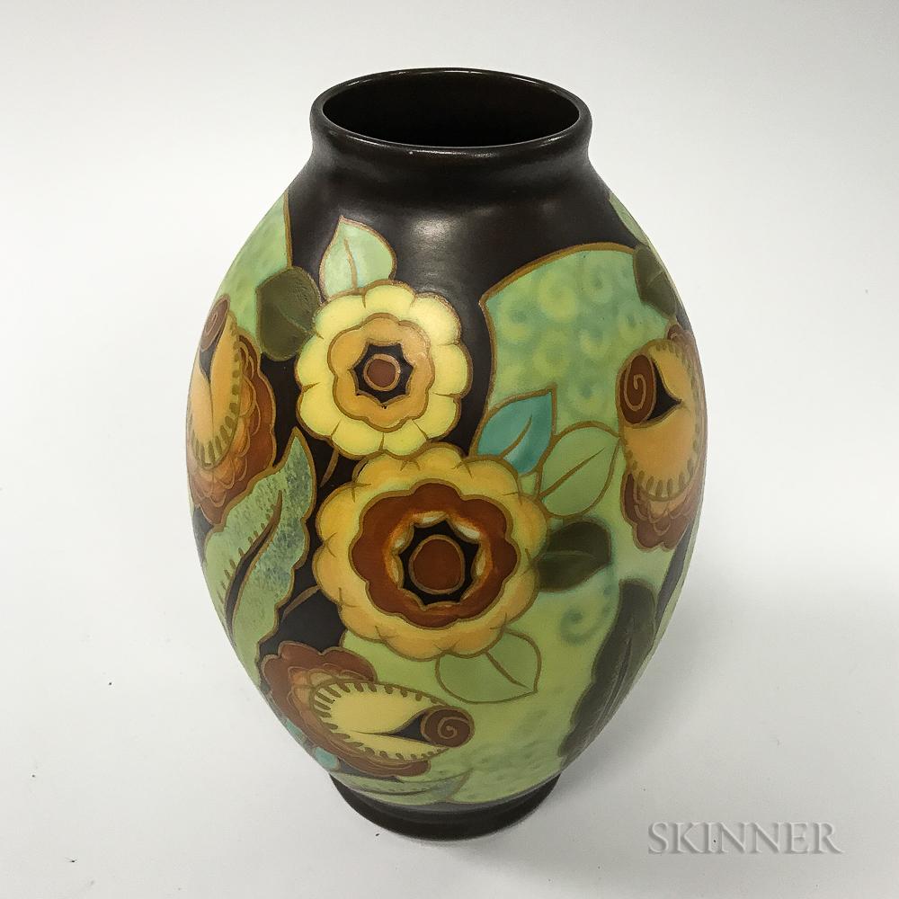 Art Deco Keramis Floral-decorated Ceramic Vase