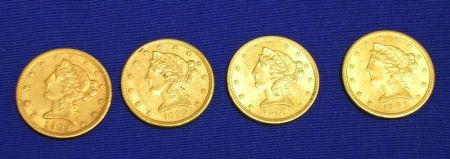 1899, 1901, 1902, and 1903 Liberty Head Half Eagle Five Dollar Gold Coins.