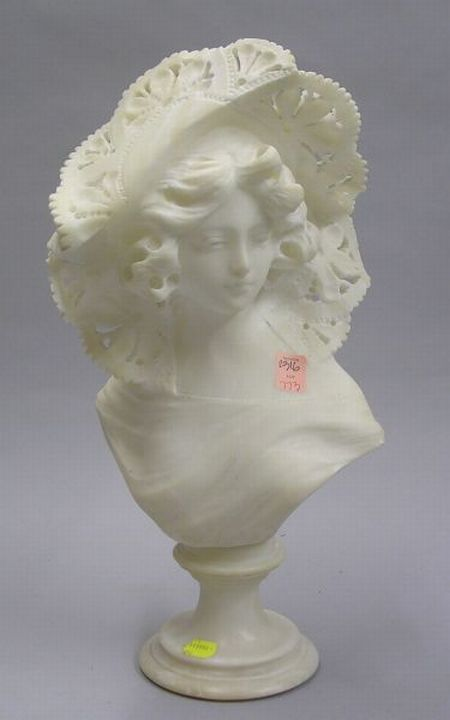 Carved Alabaster Bust of a Woman