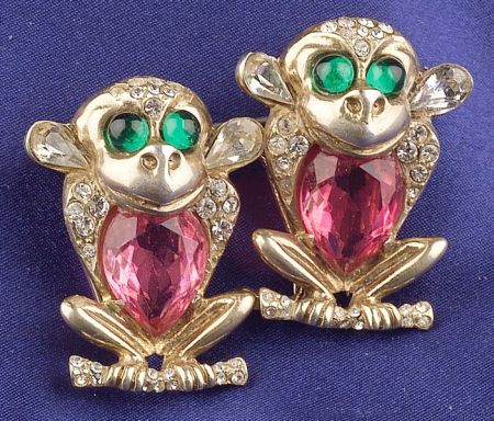 Sterling Silver and Multicolored Faceted Stone Monkey Dress Clips/Brooch, Coro Duet