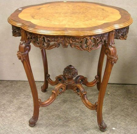 Rococo-style Exotic Wood Inlaid Carved Mahogany Occasional Table.