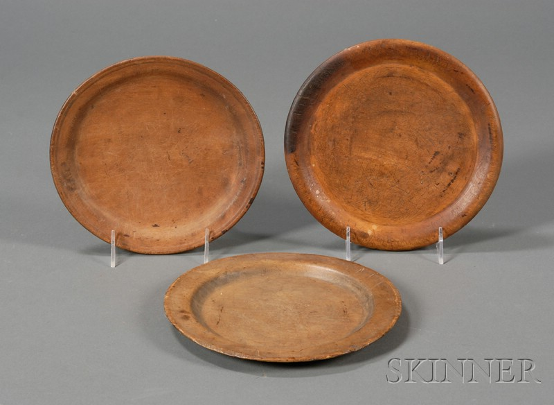 Three Round Turned Wooden Trenchers