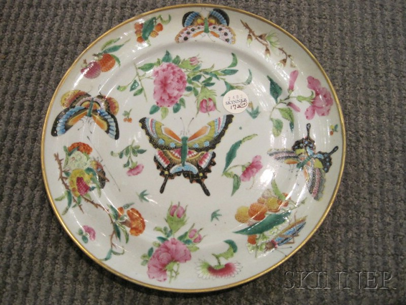Ten Famille Rose Porcelain Dinner Plates