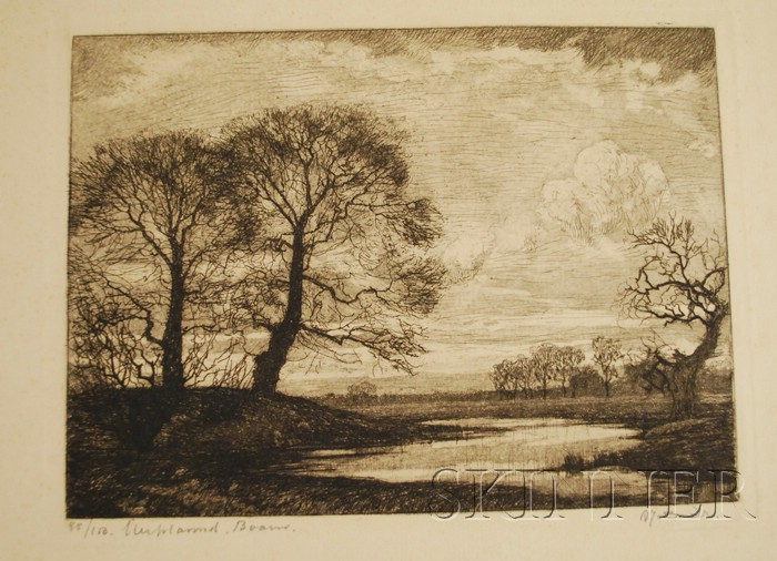 Lot of Four Unmatted Unframed European Etchings      Jacobus Jan Koeman (Dutch, 1889-1978), Blaricum