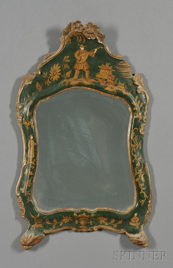Venetian Rococo-style Green Japanned Mirror