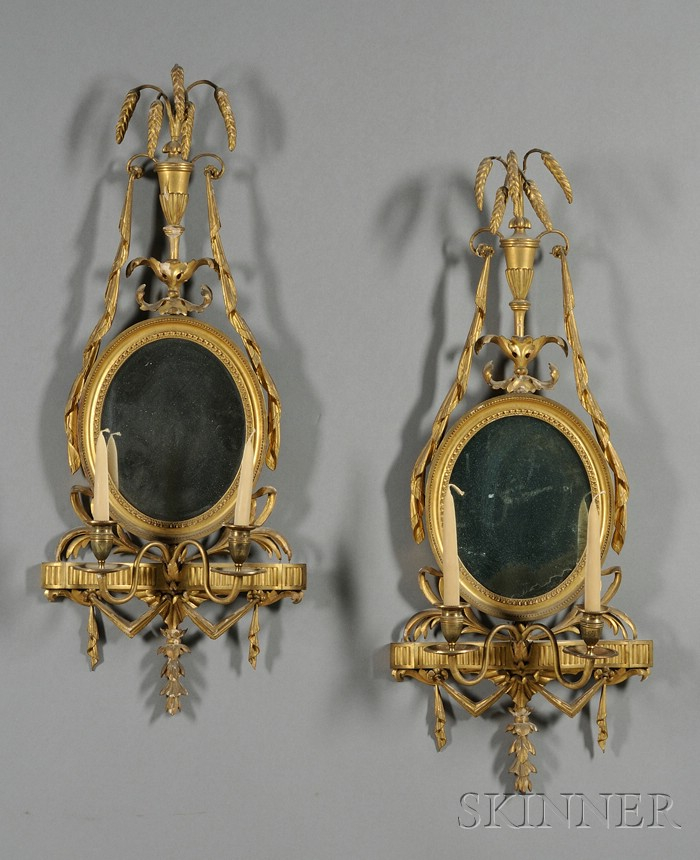 Pair of Regency-style Mirrored Giltwood and Composition Wall Sconces