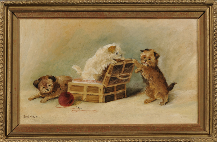 British School, 20th Century      Puppies at Play