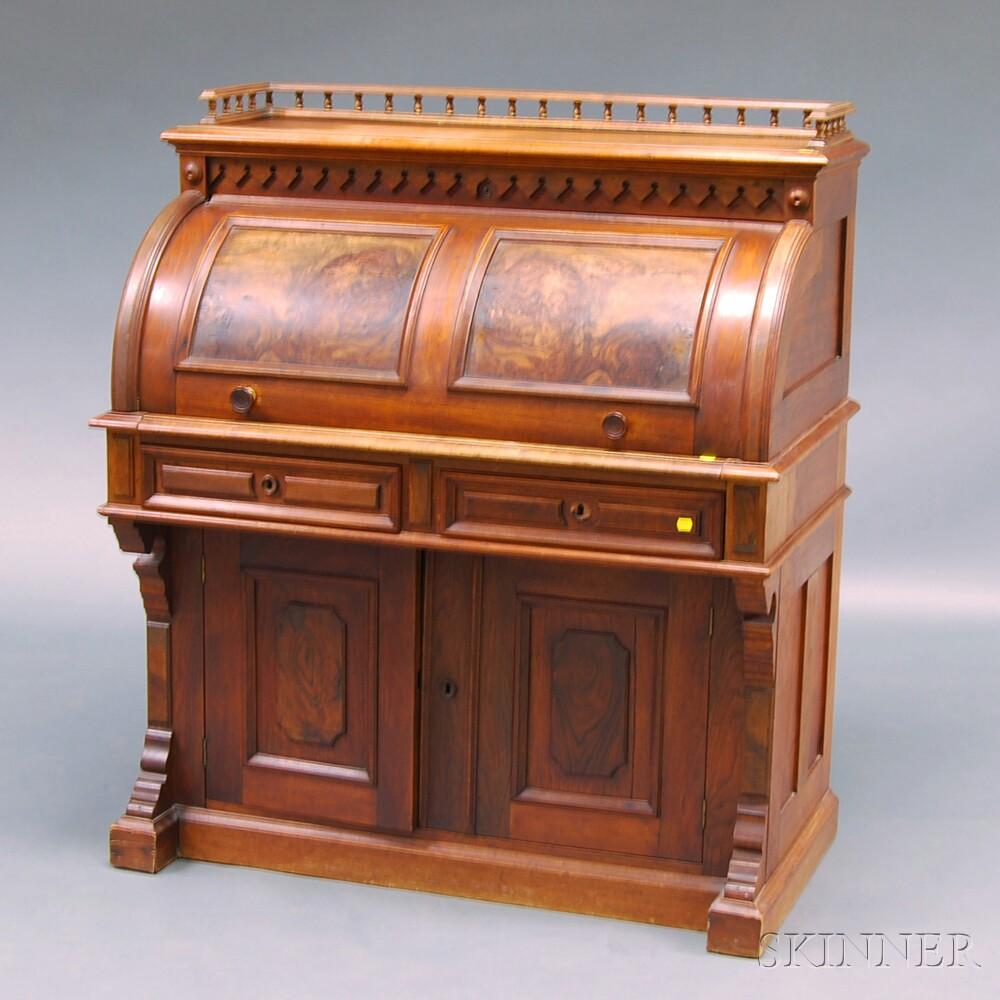 Renaissance Revival Walnut and Burl Veneer Cylinder-top Writing Desk