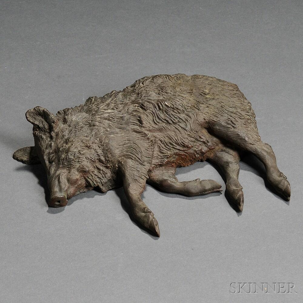 After Vasily Grachev (Russian, 1831-1905)       Bronze Figure of a Dead Boar