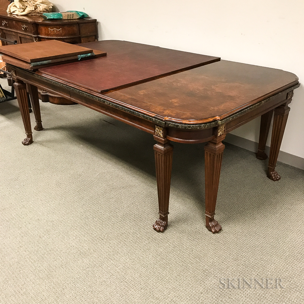 Dining Table And Buffet Set: Henredon Walnut Dining Table, Set Of Eight Chairs, And A