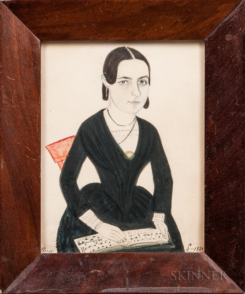 Jane A. Davis (Connecticut/Rhode Island, 1821-1855)      Portrait of a Woman with Sheet Music