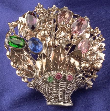 Sterling Silver and Multicolored Paste Basket Brooch, Hobe