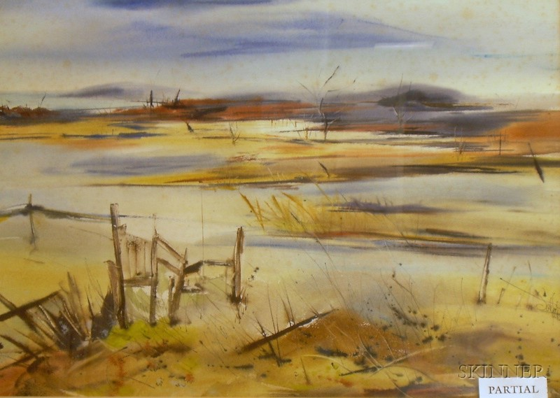 Two Framed Watercolors of Seaside Views