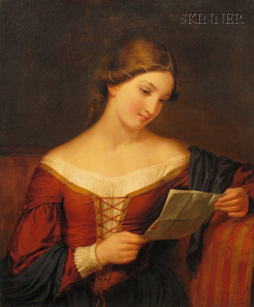 School of Francesca Alexander (American, 1837-1917)      Portrait of a Young Woman Reading a Letter