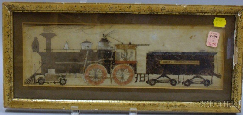 "Small Framed Pencil, Watercolor, and Gouache on Paper of a Locomotive,   ""Boston & Providence Railroad,"""