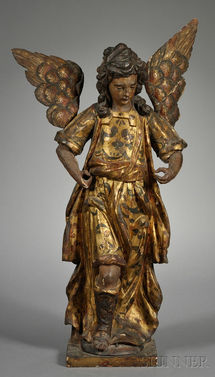 Northern European Painted and Gilt Gesso Carved Wood Figure of an Angel