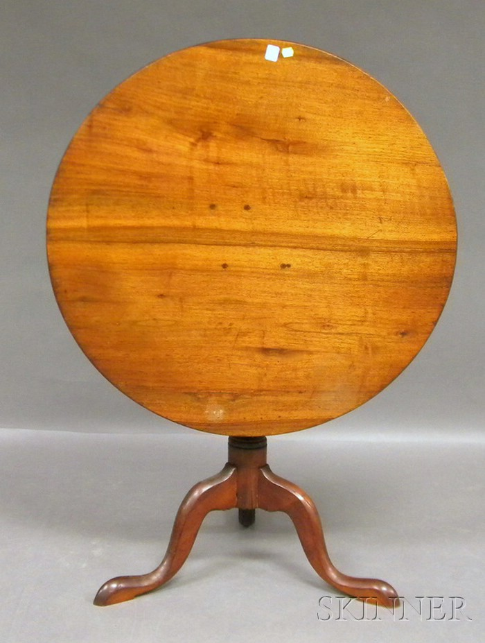 Chippendale Walnut and Cherry Tilt-top Tea Table