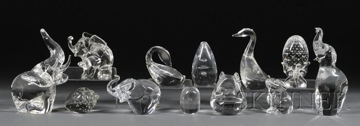 Twelve Assorted Colorless Glass Figures