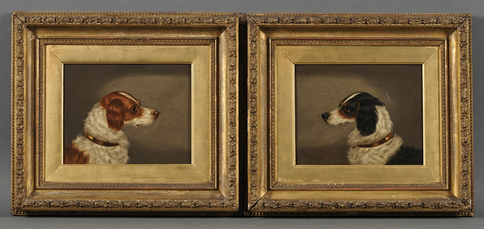 Continental School, 19th/20th Century      Lot of Two Portrait Heads of Sporting Dogs