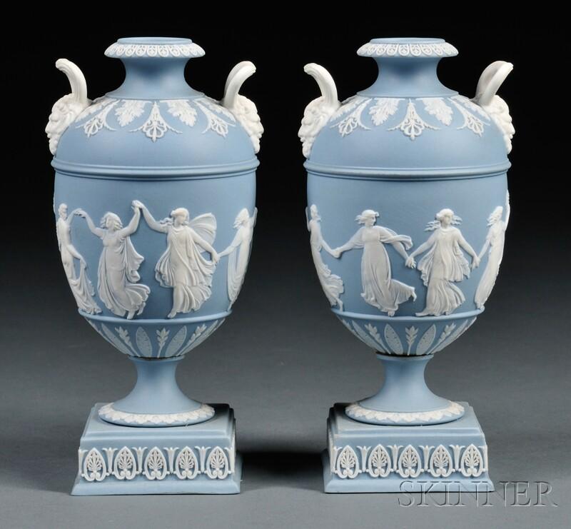 Pair of Wedgwood Solid Light Blue Jasper Dancing Hours   Vases
