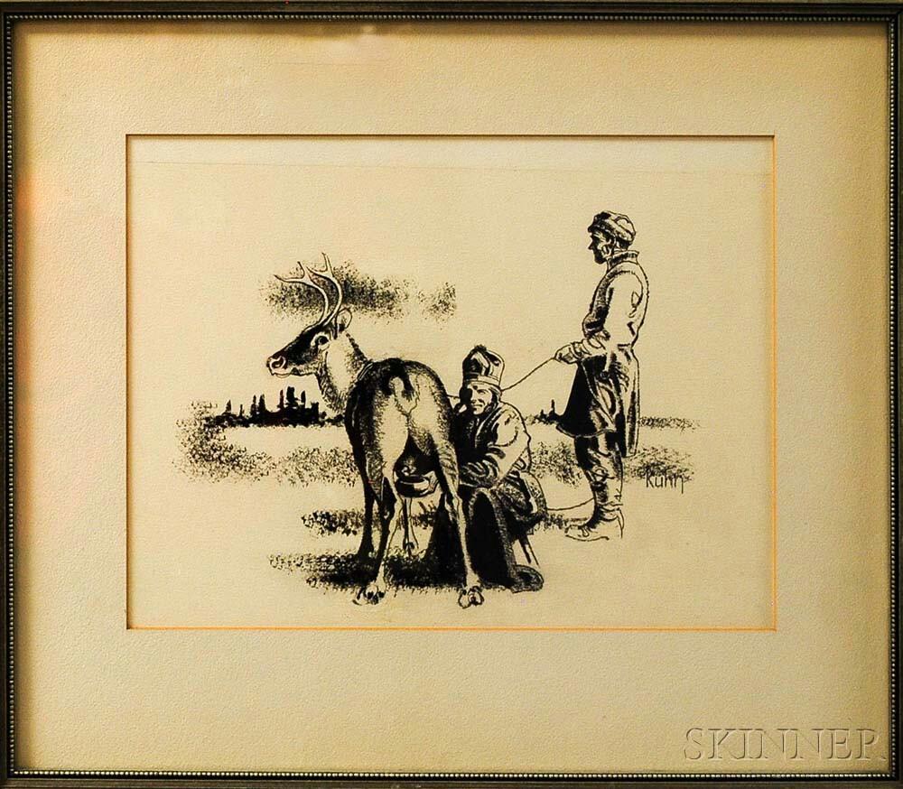 Bob Kuhn (American, 1920-2007)      Five Framed Drawings
