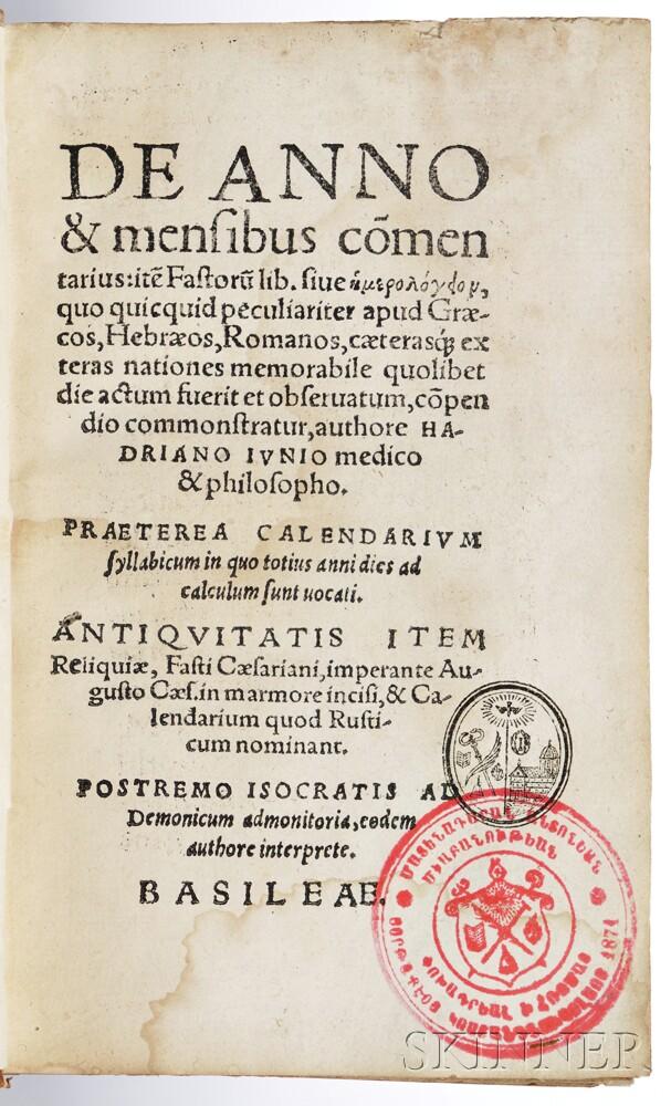 Junius, Hadrianus [aka Adriaen de Jonghe] (1511-1575) De Anno & Mensibus Commentarius.
