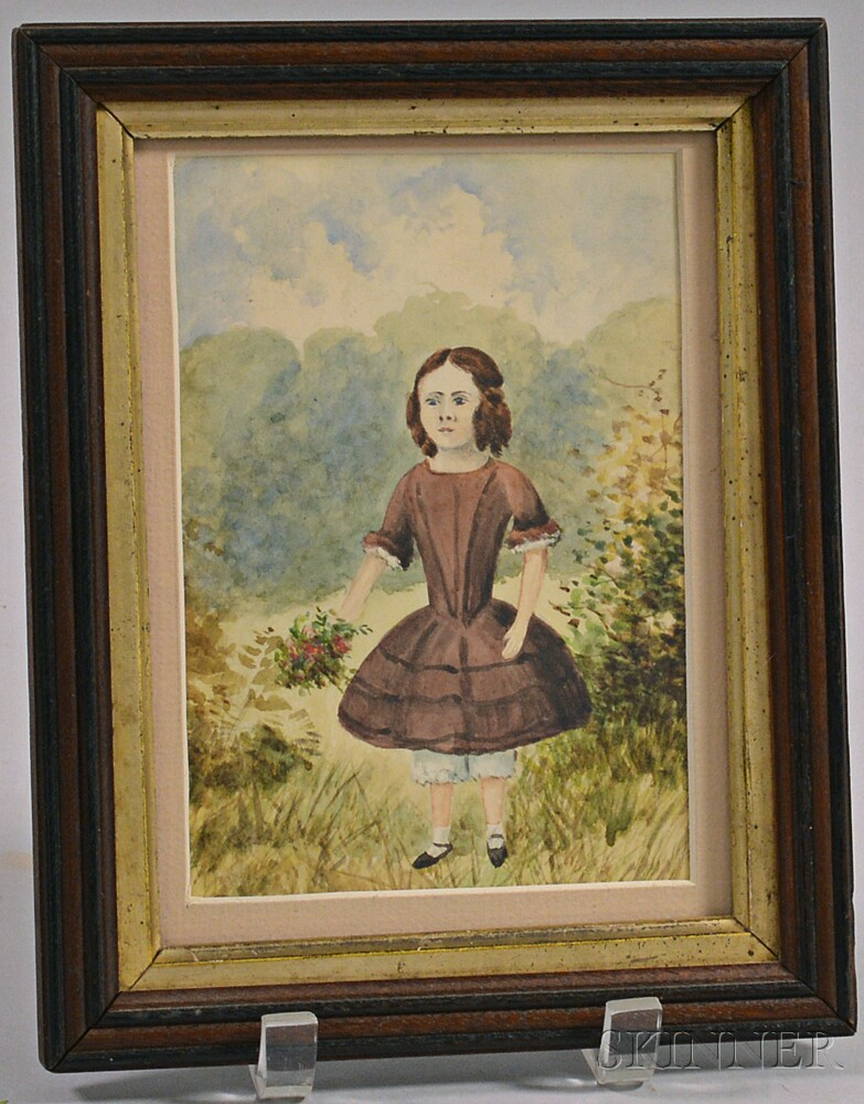 Framed Watercolor of a Girl Picking Flowers
