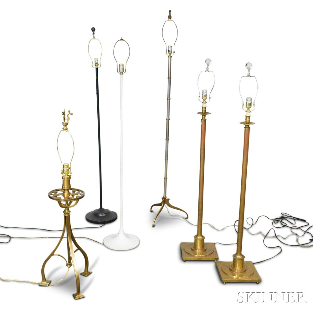 Six Metal Floor Lamps