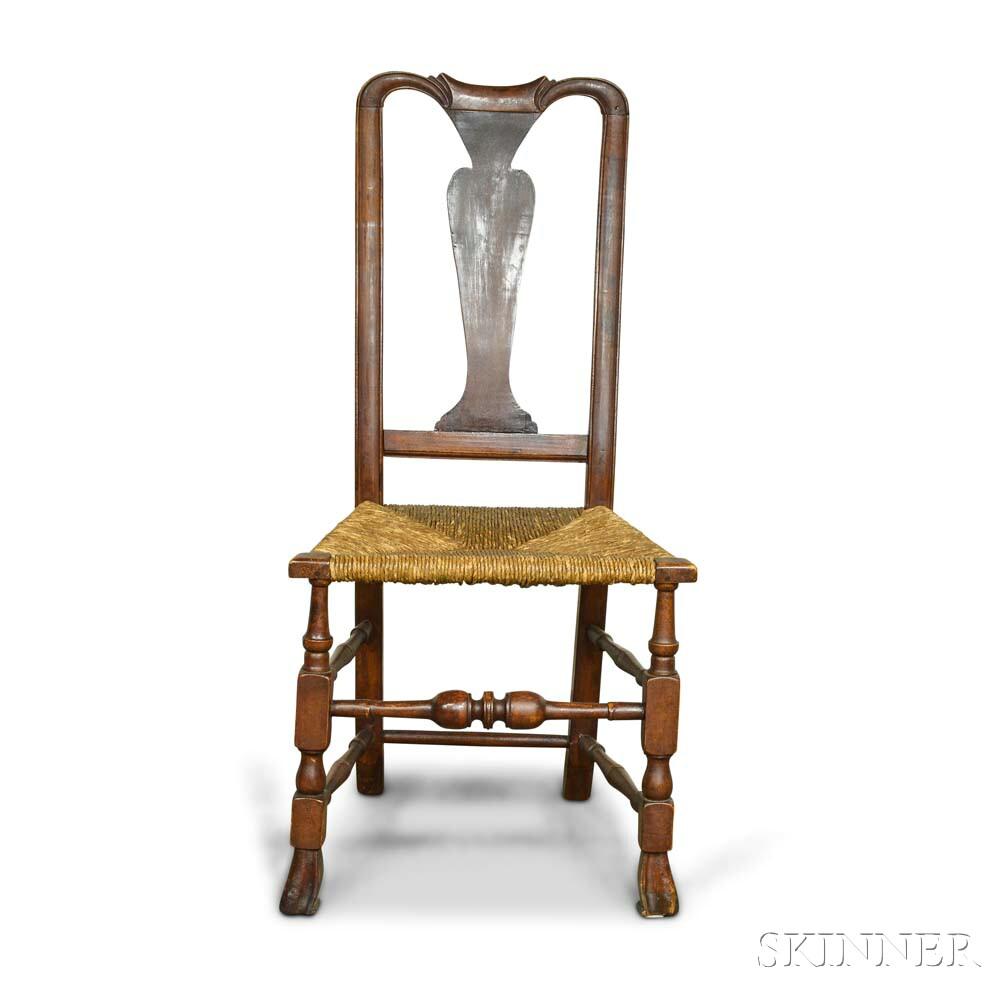 Queen Anne Maple Rush-seat Side Chair