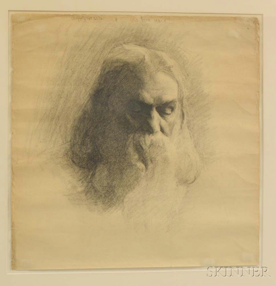 Framed Asa Cheffetz (American, 1897-1965) Pencil Drawing Old Man Macy
