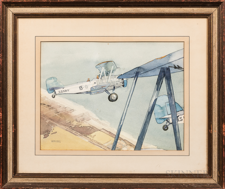 Wayne Davis (Illinois/Connecticut, 1904-1988)    Two Aviation Scenes