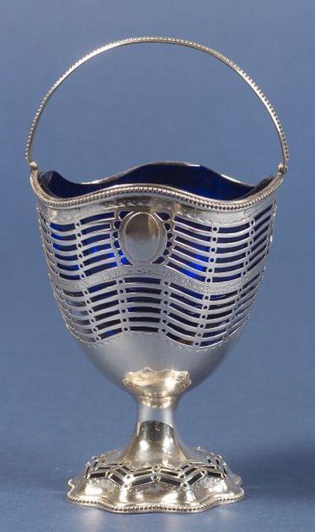 George III Hester Bateman Silver Sugar Basket
