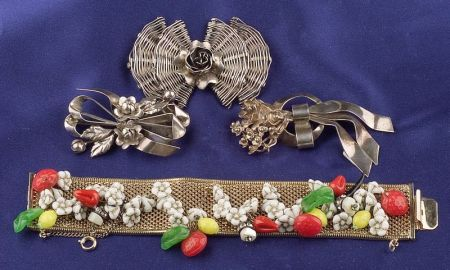Three Sterling Silver Bow Brooches and Gilt-metal Bracelet, Hobe