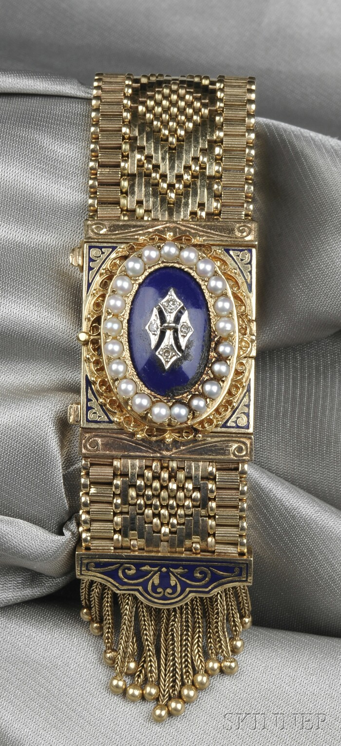 14kt Gold, Enamel, Seed Pearl, and Diamond Buckle Wristwatch