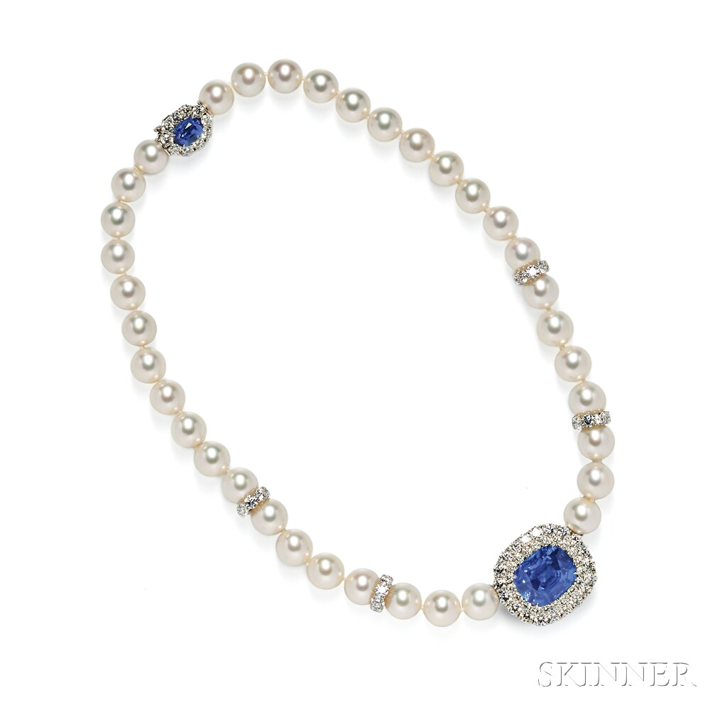 an strand double sporting p both sapphire diamonds the and heirlooms good otherwise cultured pearl sapphires used adrienne for vintage small condition clasp missing appraisal white pearls is one s from ornate with in
