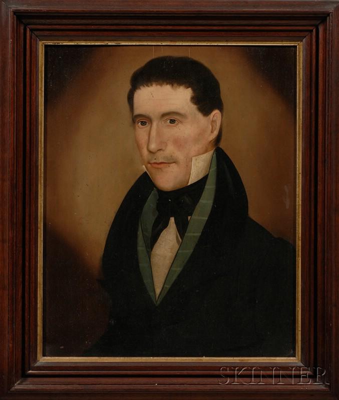 American School, 19th Century      Pair of Portraits Depicting Mr. and Mrs. Charles Bradford.