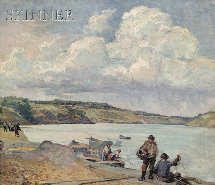 Walter Parson Shaw Griffin  (American, 1861-1935)      Fishermen, Quebec, Canada