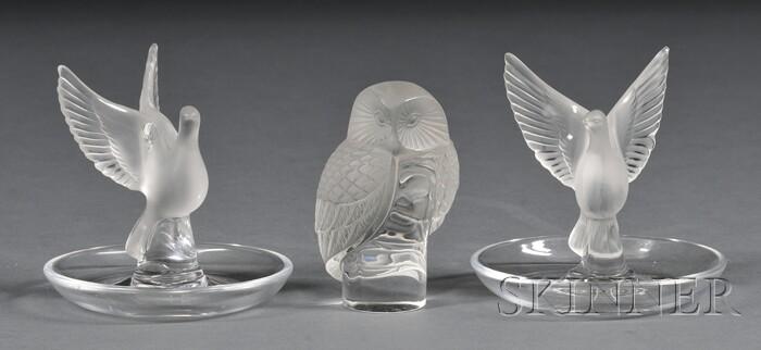 Three Lalique Glass Figures