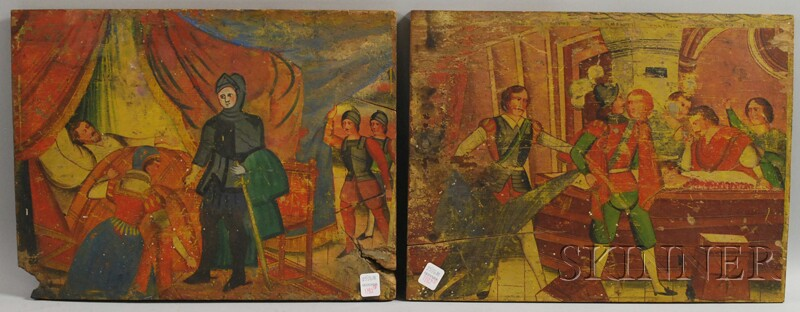 Two European 15th Century-style Polychrome Painted Scenic Wood Panels